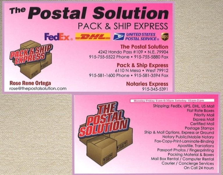 Business cards printing el paso tx the postal solution notary business cards reheart Image collections